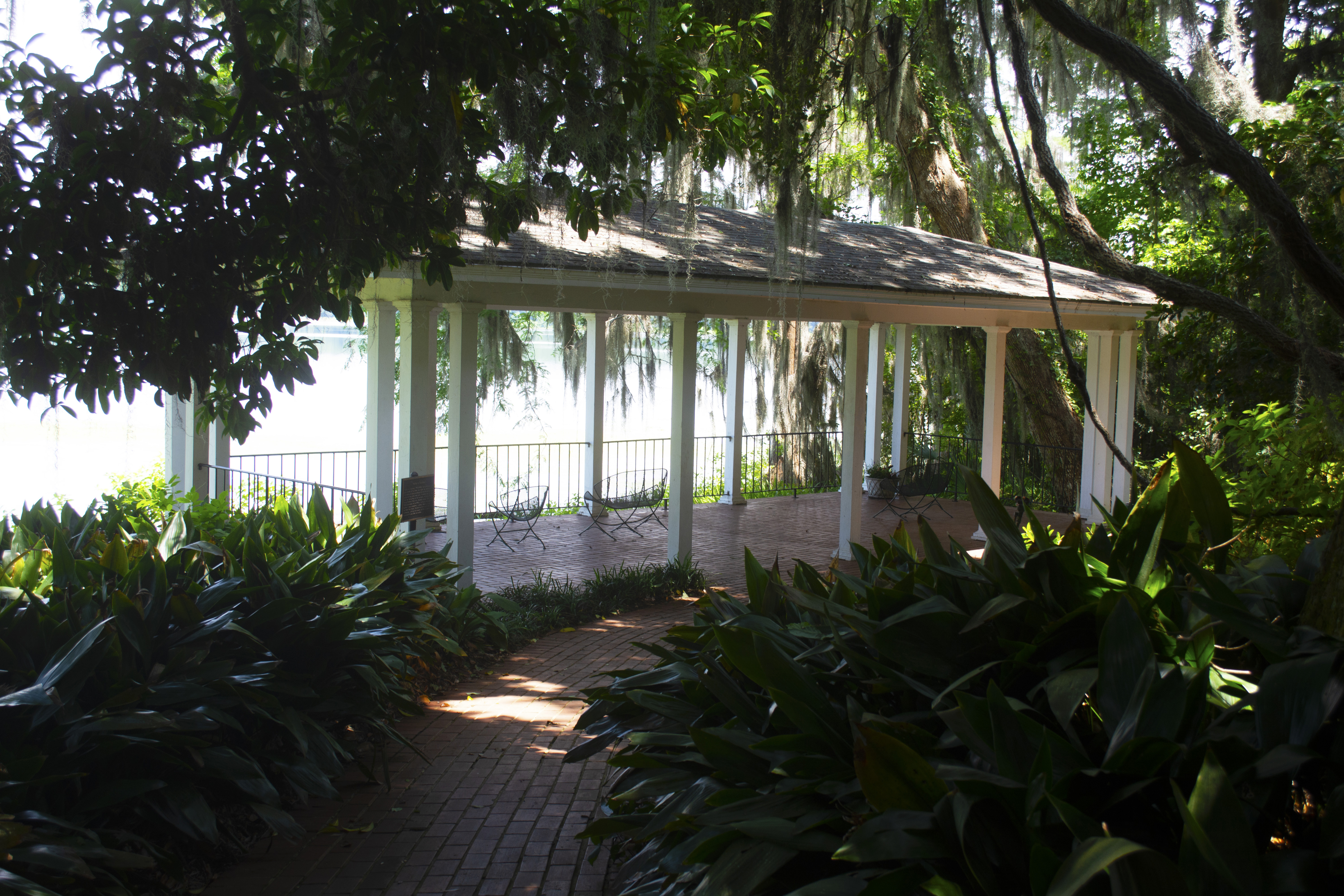 Gazebo by the lake at Alfred B. McCabe Garden State Park in Tallahassee, FL